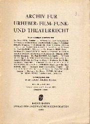 Archiv für Urheber- Film- Funk und Theaterrecht  Band 31.1960.Heft 5/6