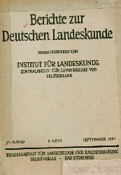 Institut für Landeskunde (Hsg.)  Berichte zur Deutschen Landeskunde 27.Band 1961 2.Heft
