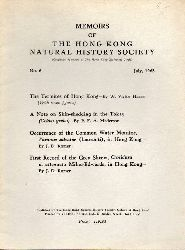 The Hong Kong Natural History Society  Memoirs of The Hong Kong Natural History Society No. 6, July 1963