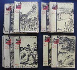 """Lok Myler   """" Sun Koh , der Erbe von Atlantis -  6 Hefte : Nr. 43 , 48 ,  71 ( hinterer Broschurdeckel fehlt ,72 ,  99 , 108 , ( Vorkriegsausgabe - Einzelverkauf möglich! )"""