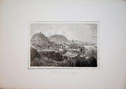 HAINBURG AN DER DONAU, Gesamtansicht mit dem  SCHLOSSBERG [aus: Ruthner: Das Kaiserthum Oesterreich in malerischen Originalansichten] Titel:Hainburg an der Donau.