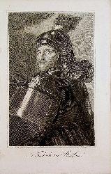 FRIEDRICH DER STREITBARE. - Friedrich II. Herzog von Österreich  (gestochen von  C. Mahlknecht nach Carl Rahl)