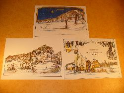 Ausschneidebogen - Bastelbogen - Bauanleitung:  Weihnachtskrippe - Papierkrippe - Krippe aus Papier - Winter-Diorama-Krippe v. H. Masuvek.