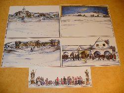 Ausschneidebogen - Bastelbogen - Bauanleitung:  Weihnachtskrippe - Papierkrippe - Krippe aus Papier - Winter-Diorama-Krippe aus Tesan (Tischau) v. Jan Husak.