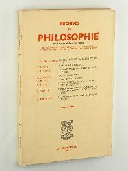 Archives de philosophie. Recherches et documentation. Revue trimetrale ...