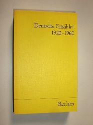 BENDER, Hans (Hrsg.):  Deutsche Erzähler 1920 - 1960.