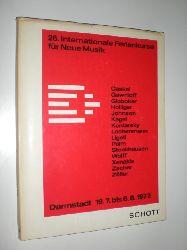 """""""THOMAS, Ernst (Hrsg.):""""  """"28. Internationale Ferienkurse für Neue Musik. Darmstadt 19.7 bis 6.8.1972. Mit Beiträgen von Carl Dahlhaus, György Ligeti u. a."""""""
