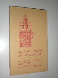 AUSLÄNDER, Rose:  Einverständnis. Gedichte. Ausgewählt von Rose Ausländer und Berndt Mosblech. Herausgeber: Berndt Mosblech. Offsetlithographien Klaus Hruby. (= Pfaffenweiler Literatur 9 ).