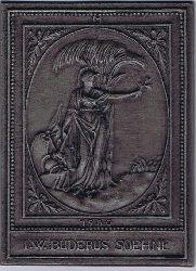 Allegorie auf den Frieden. Jahresplakette Buderus 1980. I. W. Buderus Söhne. Figur im klassizistischen Gewand trägt in einer Hand den Ölbaumzweig und vernichtet mit der brennenden Fackel in der anderen Kriegsgerät.