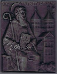 St. Benedictus. Benedikt von Nursia. Jahresplakette Buderus 1984.