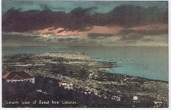 Distante view of Beirut from Lebanon. Carte postale.