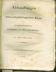 Abhandlungen der historisch-philologischen Klasse der Königlich-Preupsischen  Akademie der Wissenschaftn aus den Jahren 1818-1819.
