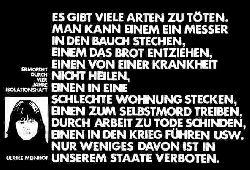 Meinhof, Ulrike. Text-Plakat.  Klein über ein Bild von U. Meinhof. Ermordet durch 4 Jahre Isolationshaft. Groß: Es gibt viele Arten zu töten....
