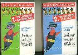 Ende, Michael.  Jim Knopf und die Wilde 13. 1. Von Lummerland zum Magnetberg. 2. Vom Magnetberg in die Wüste. 3. Von der Wüste nach China. 4. Von China nach Jamballa.