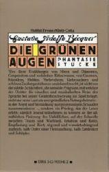 Bécquer, Gustavo Adolfo:  Die grünen Augen. Phantasiestücke. Aus dem Spanischen von Fritz Vogelsang.