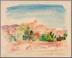 Kohler, Alfred  Aquarell Ansicht von San Antonio, Ibiza
