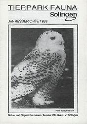 Tierpark Fauna Solingen  Jahresbericht 1988