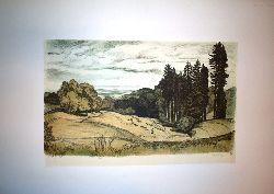 """Bell, K(arl) F(riedrich)  1 Original-Farblithographie, """"Innviertel"""" (Am Sonntagsberg), signiert und datiert 1920, 50 x 33cm."""