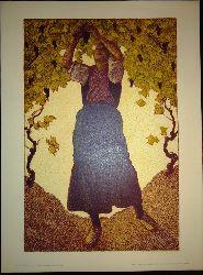Andri, Ferdinand  Winzerin. Originallithographie.