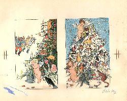Entwürfe für Weihnachtskarten im Stile der Wiener Werkstätte - Anonym  2 Lithographien auf 1 Blatt. Mit Bleistift signiert.