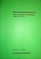 Tzara, Tristan - Bolliger, Hans (Hg.)  Dokumentations-Bibliothek III. Teile der Bibliothek und Sammlung Tristan Tzara, Paris.