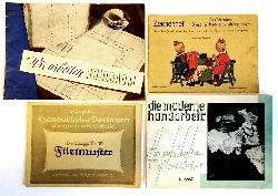 Handarbeiten -  4 Bände: 1. Wir arbeiten Hohlsaum. - 2. Filetmuster. - 3. Angehäkelte Taschentücher - 4. Zeichenheft des Vereins Dresdner Nadelarbeitslehrerinnen.