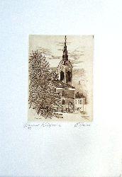 Neustift am Walde (Kupferstich) / Annau, Ernst  Neustifter Kirche. Original-Kupferstich von Ernst Annau.