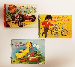 3 Ringbilderbücher 1970er Jahre  1. Mein Rad meine Freud - 2. Was ist denn das? - 3. Von Sieg zu Sieg!