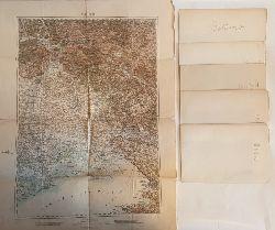 Italien - k.u.k. militär-geographisches Institut:  Konvolut von 6 Landkarten: Mantua, Verona, Trient, Venedig, Belluno,Triest.
