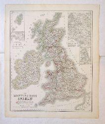 Großbritannien - Landkarte  Die Britischen Inseln oder die Vereinigten Königreiche Grossbritannien und Ireland.
