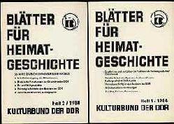 Blätter für Heimatgeschichte Jg. 2, 1984 in 2 Heften Hrsg. Zentralvorstand der Gesellschaft für Heimatgeschichte im Kulturbund der DDR.