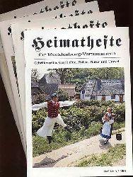 Heimathefte für Mecklenburg-Vorpommern. Schriftenreihe Geschichte, Kultur, Natur und Umwelt. Jg. 1 in 4 Heften.