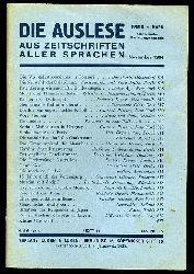 Die Auslese aus Zeitschriften aller Sprachen. Internationale Zeitschriftenschau. November 1934.