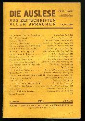 Die Auslese aus Zeitschriften aller Sprachen. Internationale Zeitschriftenschau. August 1934. Mit Beilage August 1934.