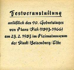 Festveranstaltung anläßlich des 90. Geburtstages von Hans Vick (1893-1966) am 23.2.1983 im Heimatmuseum der Stadt Boizenburg/Elbe.