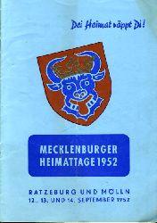 Dei heimat röppt Di! Mecklenburger Heimattage 1952. Ratzeburg und mölln 12., 13. und 14. September 1952.
