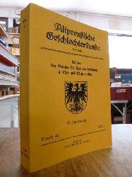 Verein für Familienforschung in Ost- und Westpreußen (Hrsg.),  Altpreußische Geschlechterkunde APG - Blätter des Vereins für Familienforschung in Ost- und Westpreußen, Neue Folge, Band 41, 59. Jahrgang 2012,