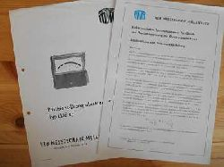 VEB Messtechnik:  Messtechnik. 1) Präzisions-Drehspulinstrument Typ LDE sp; 2) Elektrostatischer Spannungsmesser für Gleich- und Wechselspannung mit Quadrantenmesswerk (Beschreibung und Bedienungsanleitung) (zus. EURO 7,80 u. Porto EURO 2,10) Einzelpreis ab: