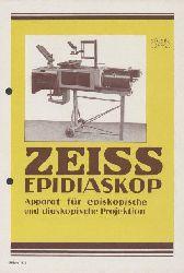 Zeiss, Carl  Zeiss-Epidiaskop. Apparat für episkopische und diaskopische Projektion. Zeiss-Druckschrift Mikro 435. Prospekt.
