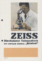 "Zeiss, Carl  Zeiss Binokularer Tubusaufsatz mit schrägem Aufblick ""Bitukni"". Zeiss-Druckschrift Mikro 433. Prospekt."