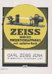 Zeiss, Carl  Zeiss Mikro-Projektionsapparate mit optischer Bank. Zeiss-Druckschrift Mikro 439. Prospekt.