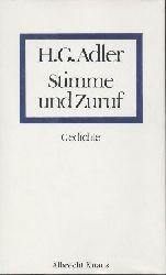 Adler, Hans G.  Stimme und Zuruf. Gedichte.