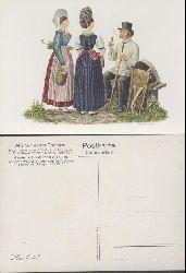 Schmid, David Aloys  Alte Schweizer Trachten. Anciens Costumes Suisses. 17 Postkarten.