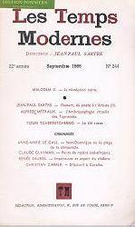 Satre, Jean Paul:  Les Temps Modernes. 22e annee, Septembre 1966, N° 244