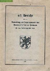 63. Bericht über die Verwaltung der Angelegenheiten des Provinzialverbandes von Pommern für das Rechnungsjahr 1938.