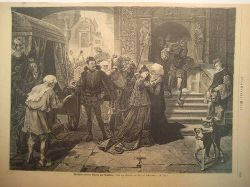 Krell X.U., E.  Philippine Welsers Abschied von Augsburg (Holzstich nach einem Gemälde von Albert Schroeder)