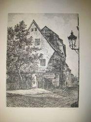 """unleserlich (evtl. M. Günth..?)  Original-Radierung der Gaststätte """"Zum Nussbaum"""" in Berlin"""