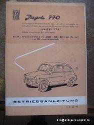 FIAT  Jagst 770 (Betriebsanleitung für den Fiat 600 D und Type Jagst 770; Bedienungsanweisungen, Instandhaltung, Hauptmerkmale; Anhang: Cabrio - Limousine)