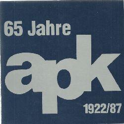 APK  Arbeitsgemeinschaft Pfälzer Künstler Jubiläumsausstellung 1922-1987 (50 Jahre APK)