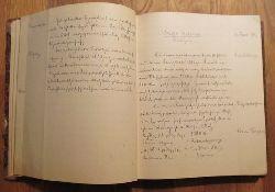 """Pflaum, F. Dr. (München, Storchen-Apotheke)  Handgeschriebenes """"Manuale pharmazeuticum"""" (darunter hs. ein Name oder Ort Farviernstein (ersten 3 Buchstaben für mich schlecht zu entziffern)"""